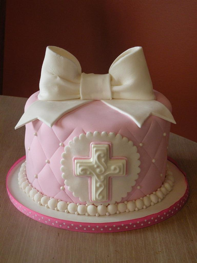 Pink Holy Communion cake & cupcakes by Dani Johnson