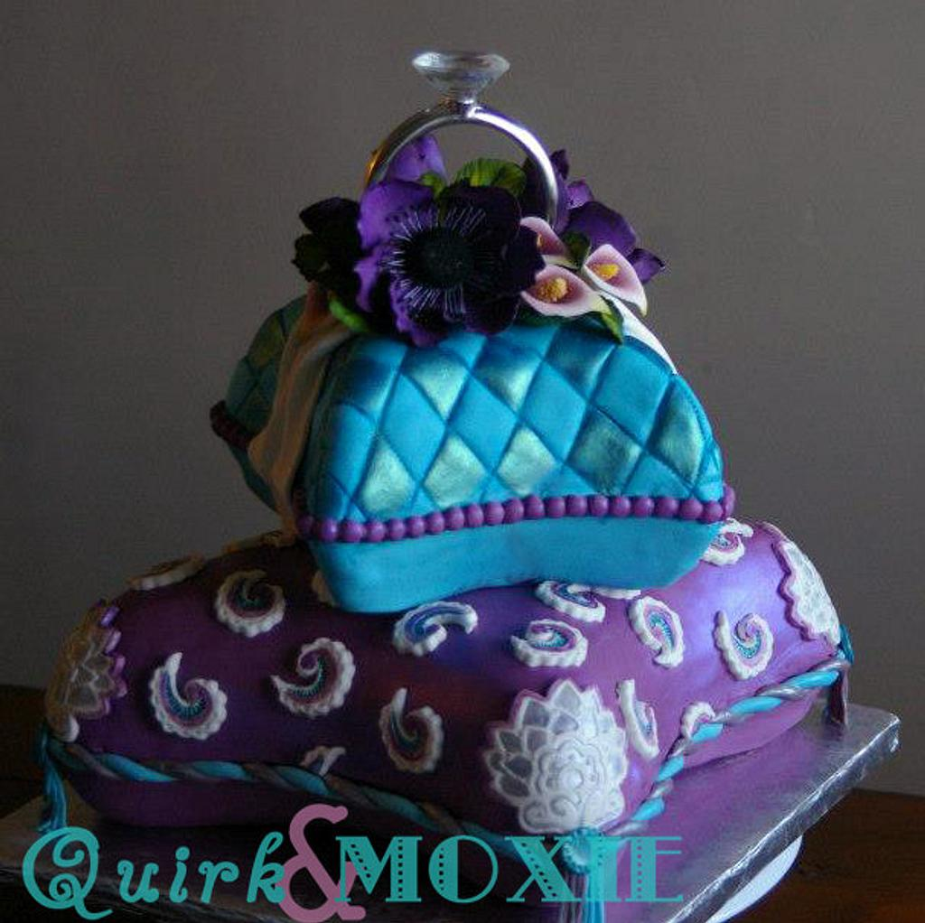 Pillow Engagement Cake by QuirkAndMoxie