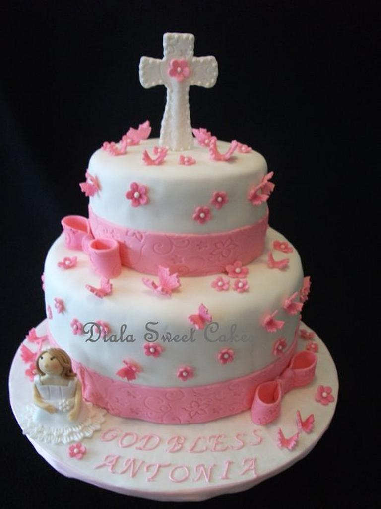 1st Communion Cake by DialaSweetCakes