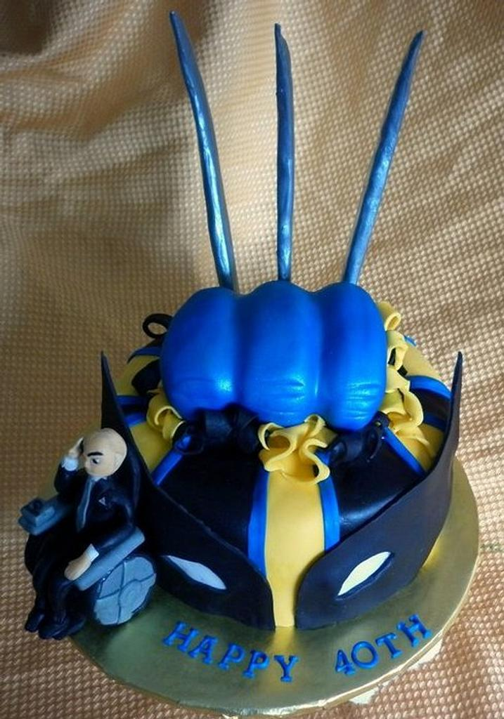 X-Men Wolverine/ Professor X Cake by Andrea Bergin