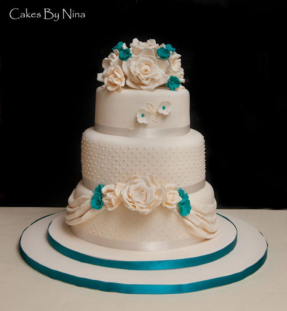 Cream and Teal Wedding by Cakes by Nina Camberley