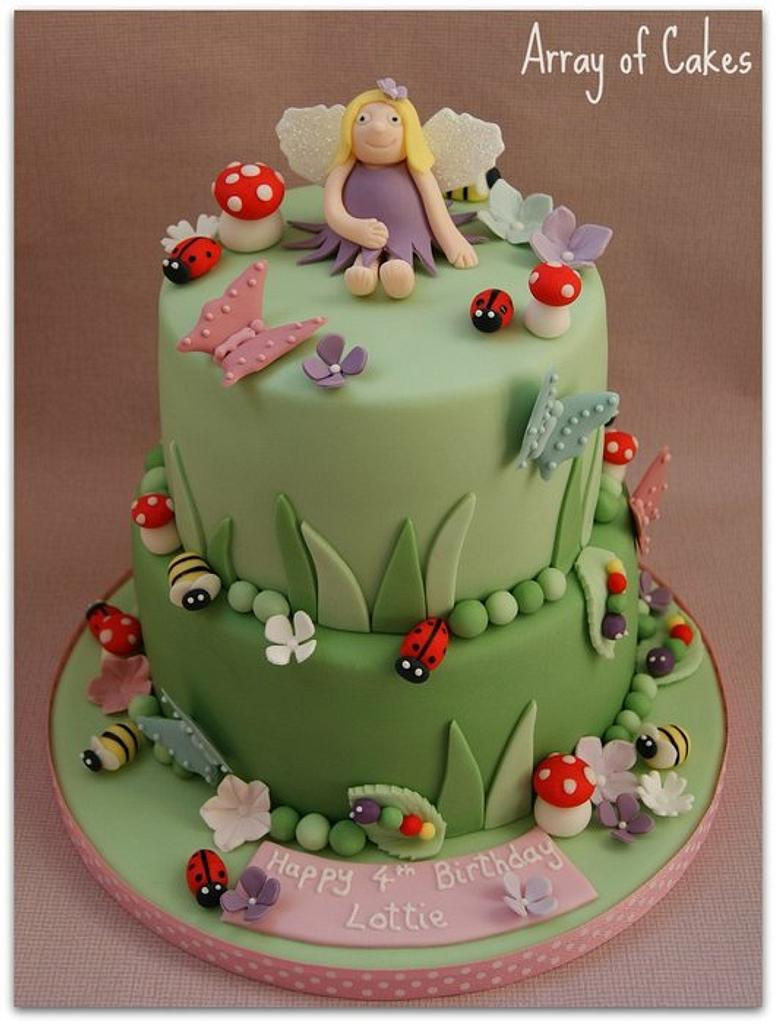 Fairy & Garden Bugs Birthday Cake by Emma
