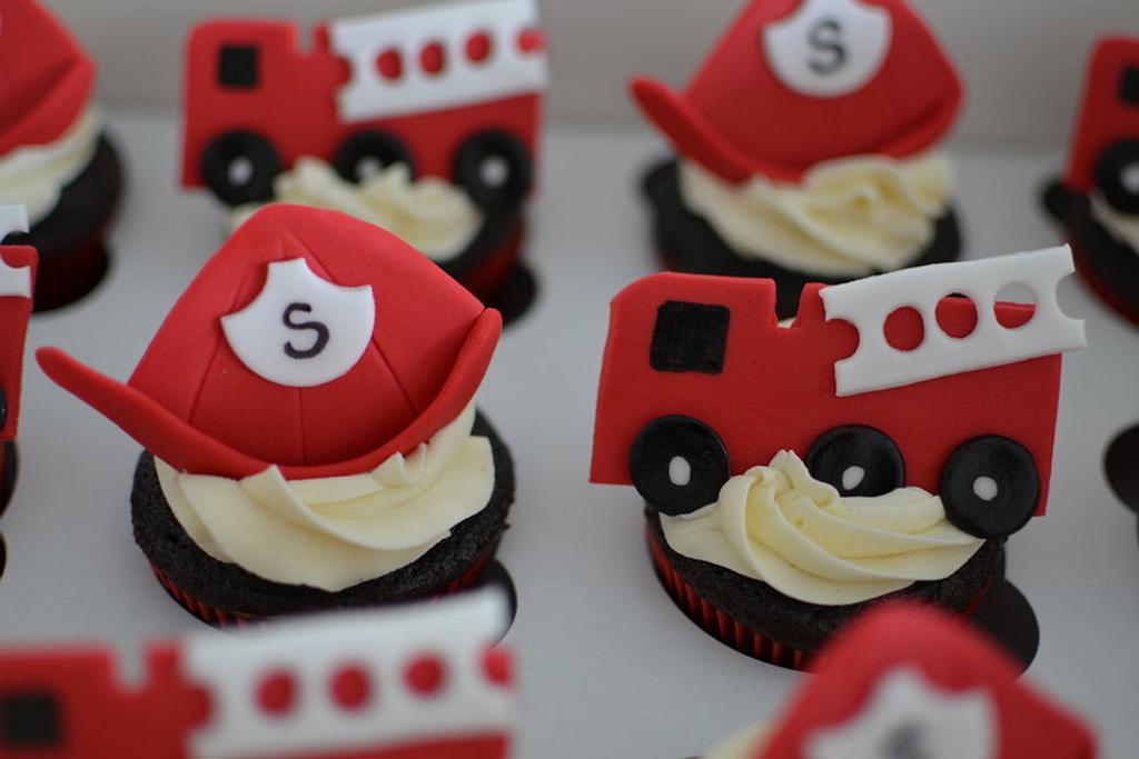 Fireman themed cupcakes by Hello, Sugar!