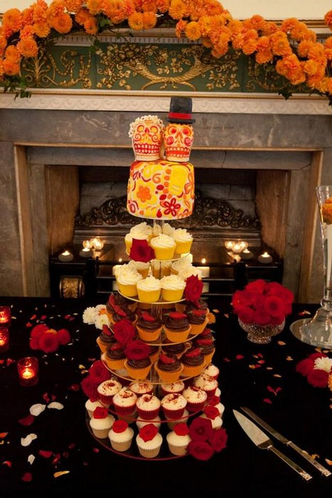 Day of the Dead wedding cupcake tower by bathcakecompany