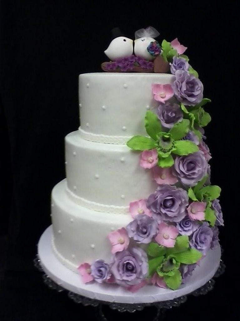 Floral Cascade Wedding Cake by Cheryl's Creative Cakery
