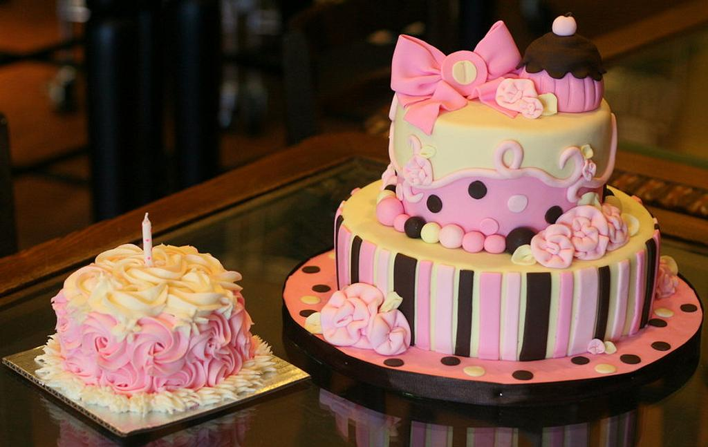 Sweet 1st Birthday Cake by Heather