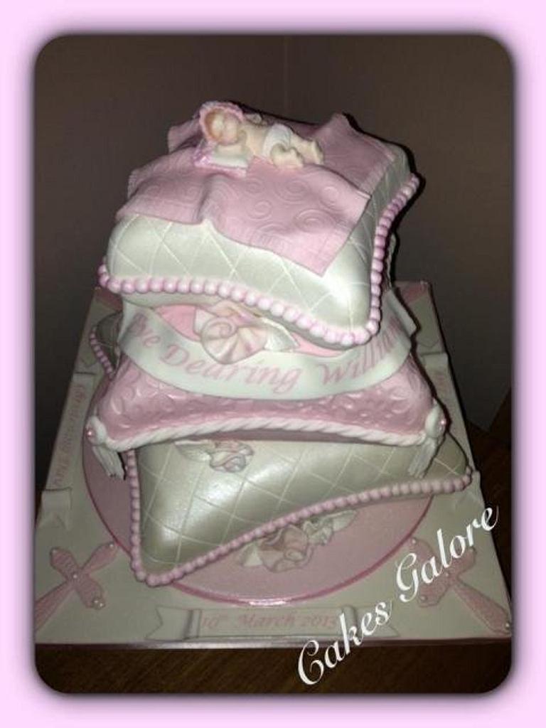 cushion / pillow christening cake by janicen17
