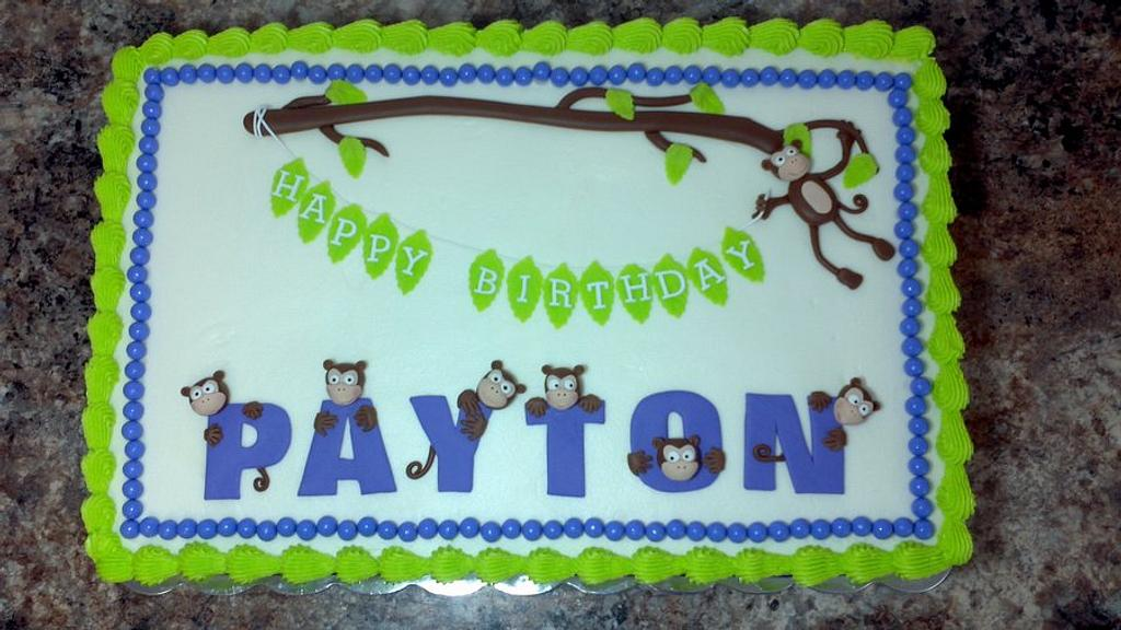 Monkey birthday cake  by subwaygirl23