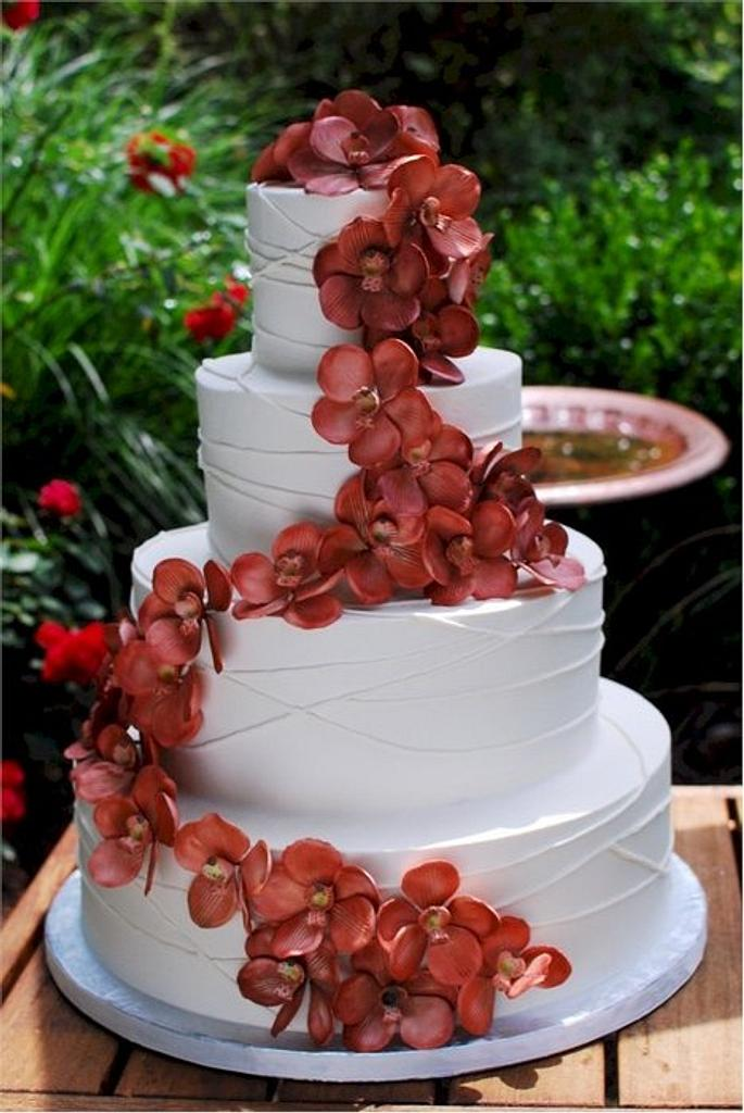Copper Vanda Orchid Wedding Cake by Jenniffer White
