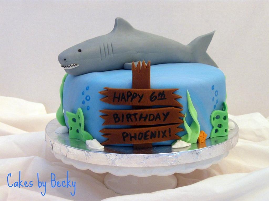 Shark Birthday Cake by Becky Pendergraft