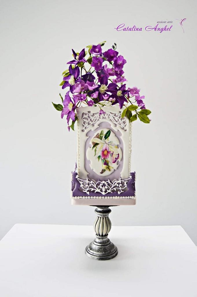 Hummingbird Royal Icing panels cake by Catalina Anghel azúcar'arte