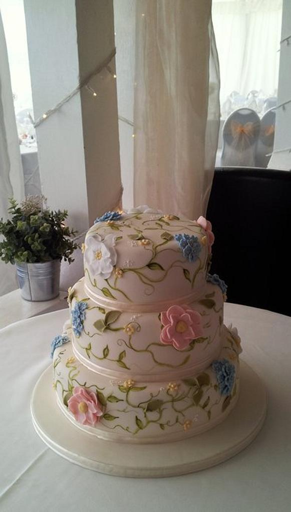 Hand Painted Wedding Cake by Sarah Poole