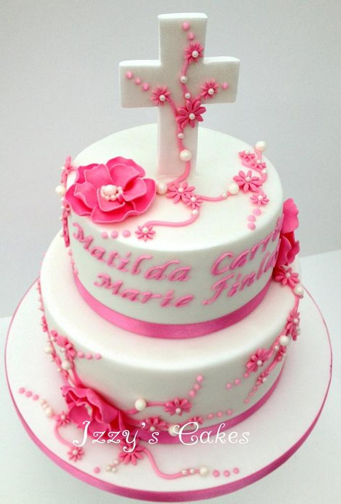 A very pink christening cake! by The Rosehip Bakery