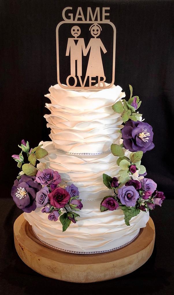 Wave Ruffle Wedding Cake by Julie Anne White