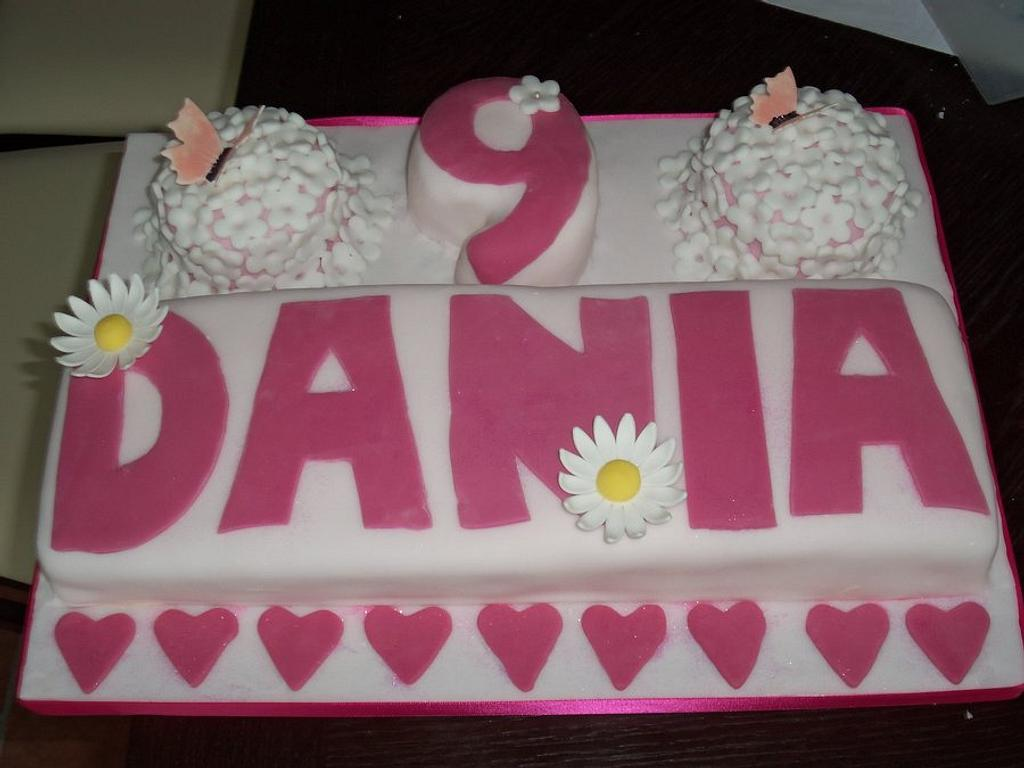 Name cake, flowers, hearts and butterflies by Helen