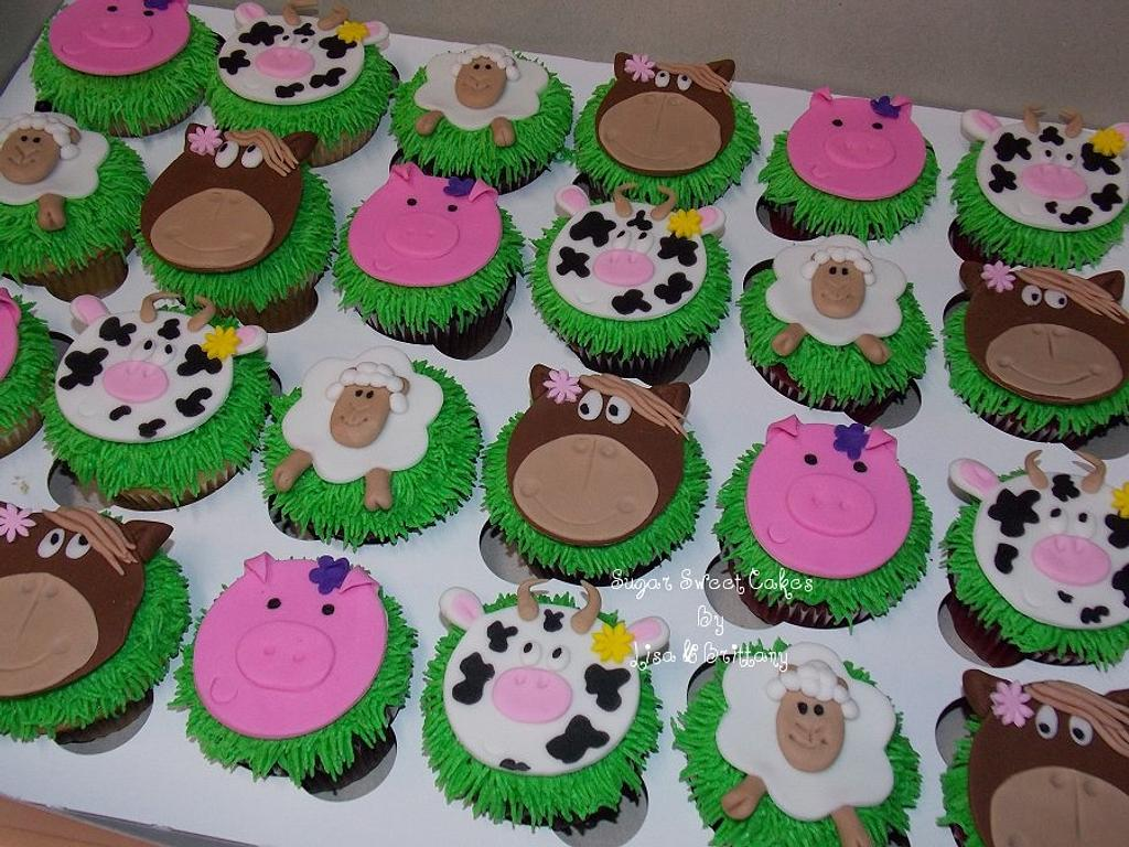 Farm Animal Cupcakes by Sugar Sweet Cakes