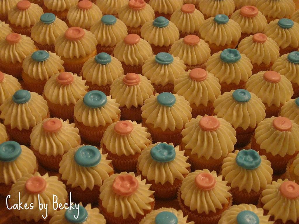 Mini Vanilla Bean Baby Shower Cupcakes by Becky Pendergraft