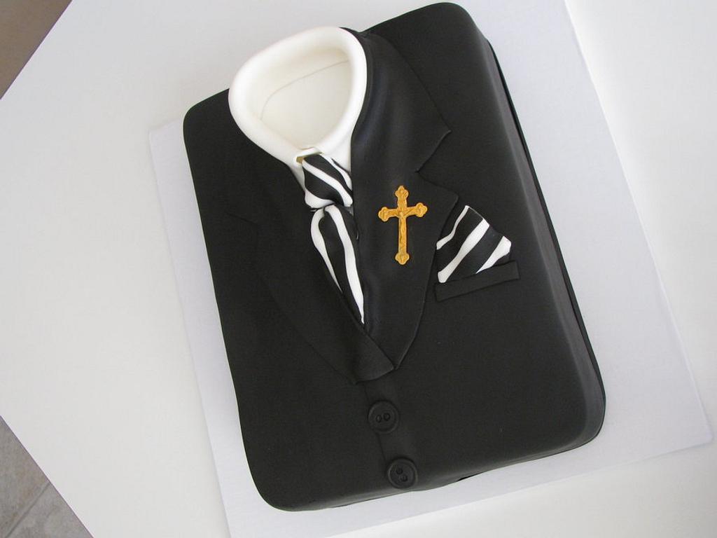 Boys confirmation suit cake by Sandra Caputo