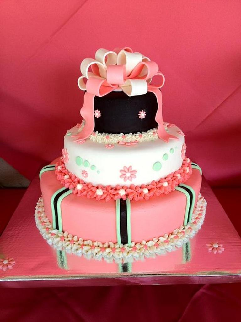 Coral Baby Shower cake by Dawn Henderson
