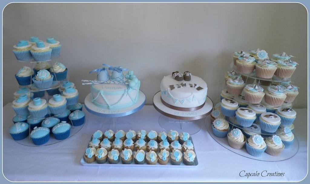 Joint Christening dessert table by Cupcakecreations