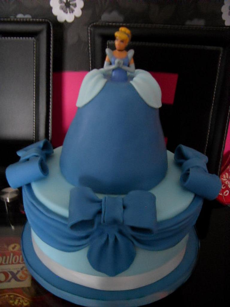 Two Tier Cinderella, Swags & Bows Birthday Cake by Christine