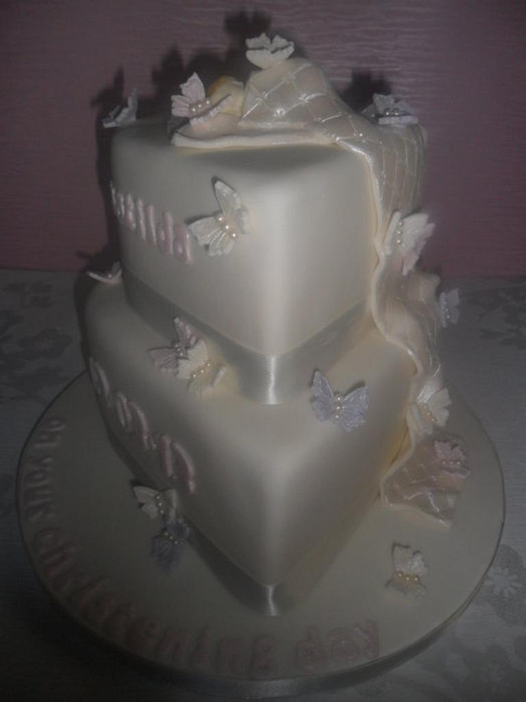Ivory pearl heart baby Christening Cake by Rebecca Husband