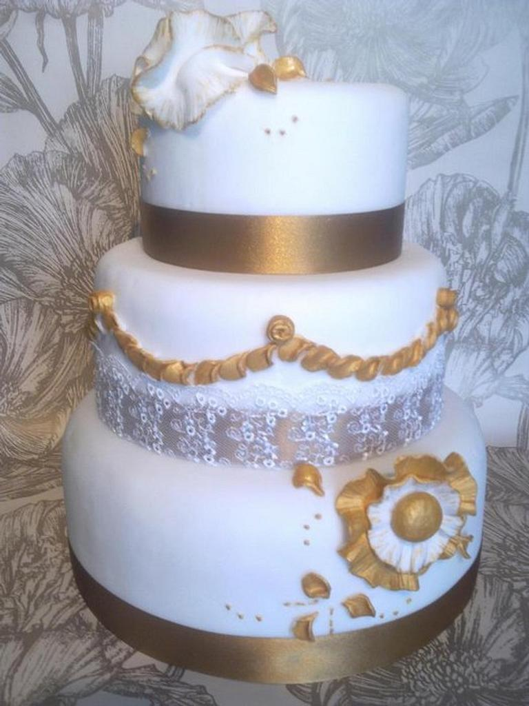 Gold ruffles and Lace by PetiteSweet-Cake Boutique