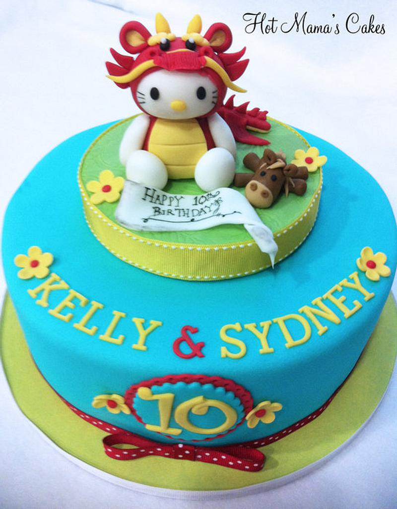 Hello Kitty year of the Dragon cake by Hot Mama's Cakes