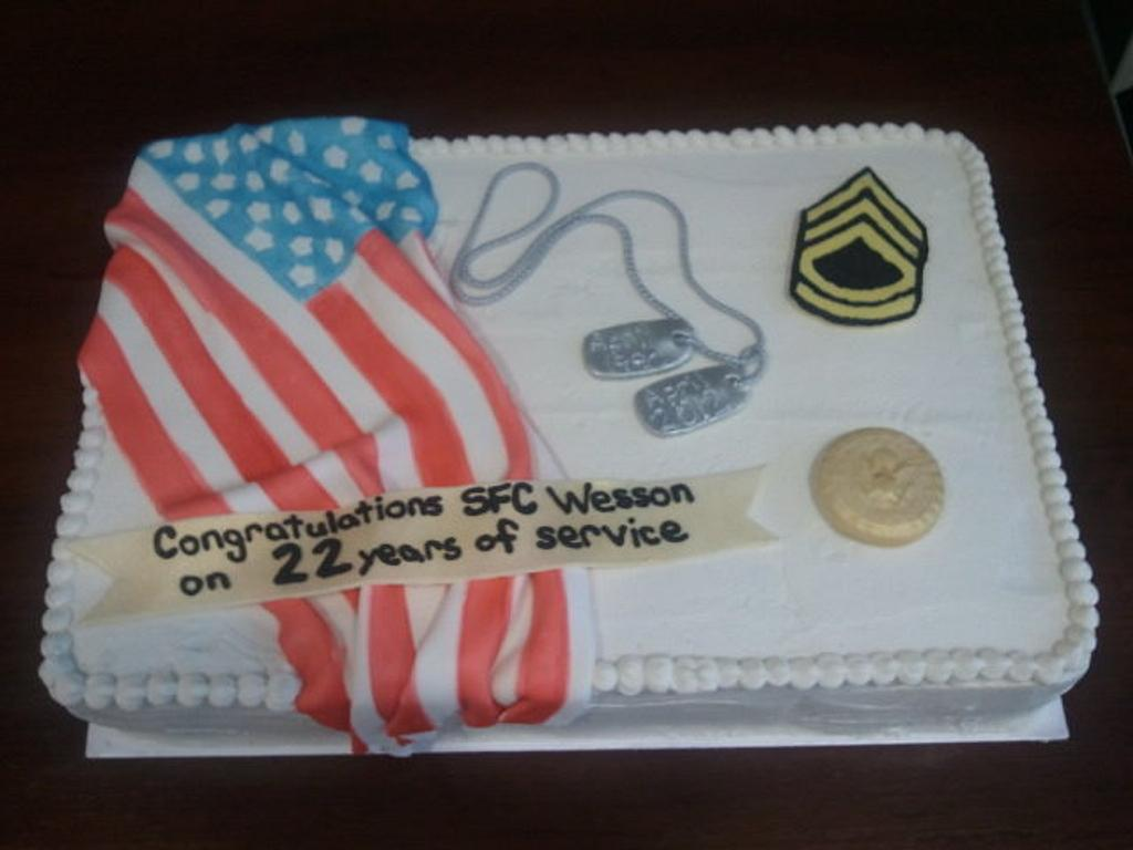 Army Retirement Cake by Mimi's Sweet Shoppe Amanda Burgess