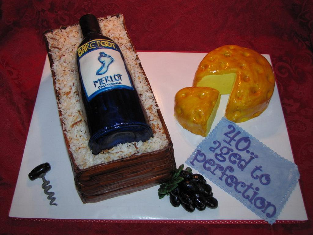 My first wine bottle cake!  by Tiffany Palmer
