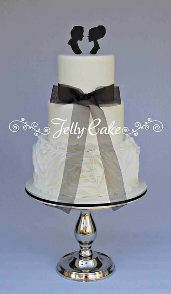 Silhouette and Ruffles Wedding Cake by JellyCake - Trudy Mitchell