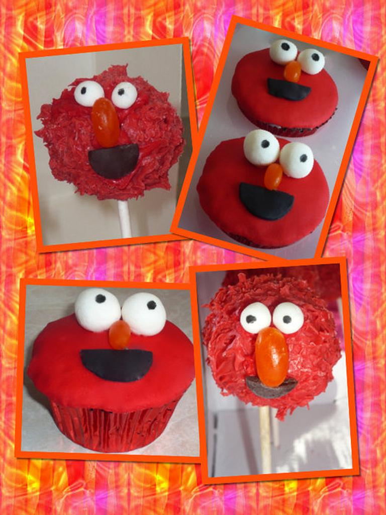 Elmo cupcakes & cake pops by Louisa