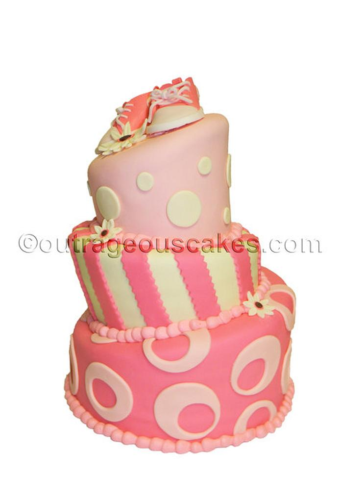 3 tier topsy turvy baby shower cake by  Outrageous Cakes Tampa Bakery