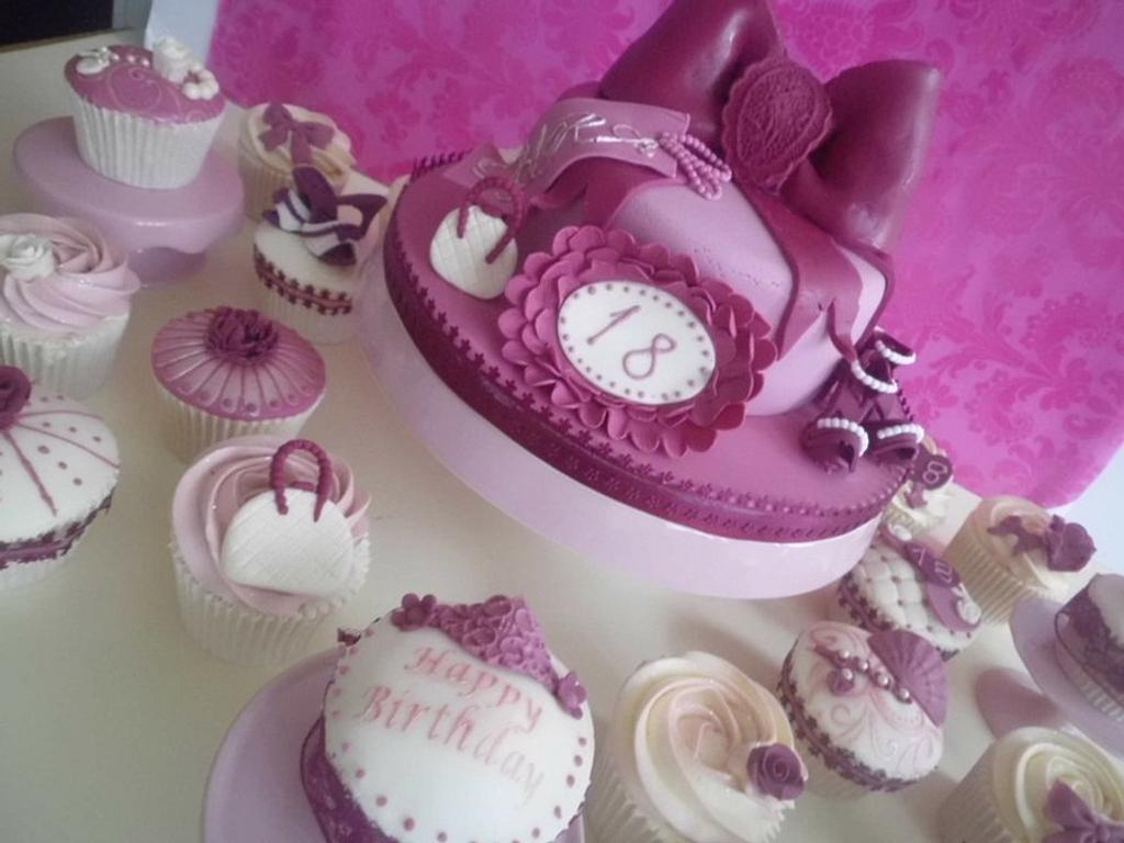 18th birthday cake and 18 cupcakes by prettypetal