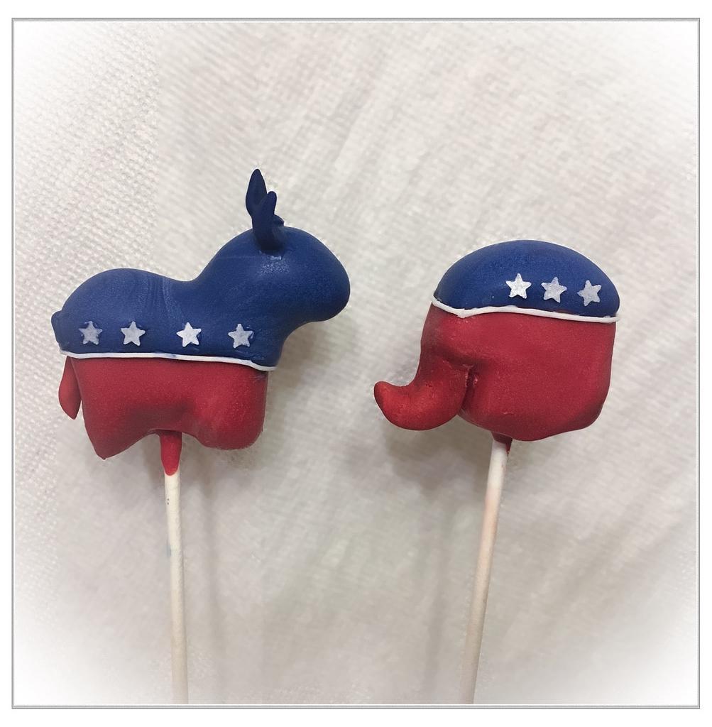 Election 2016 Cake Pops by Jenny Kennedy Jenny's Haute Cakes