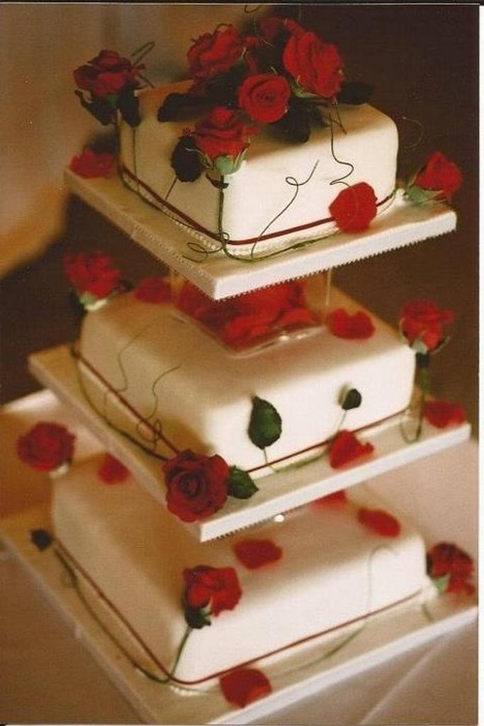 Red roses wedding cake by Iced Images Cakes (Karen Ker)