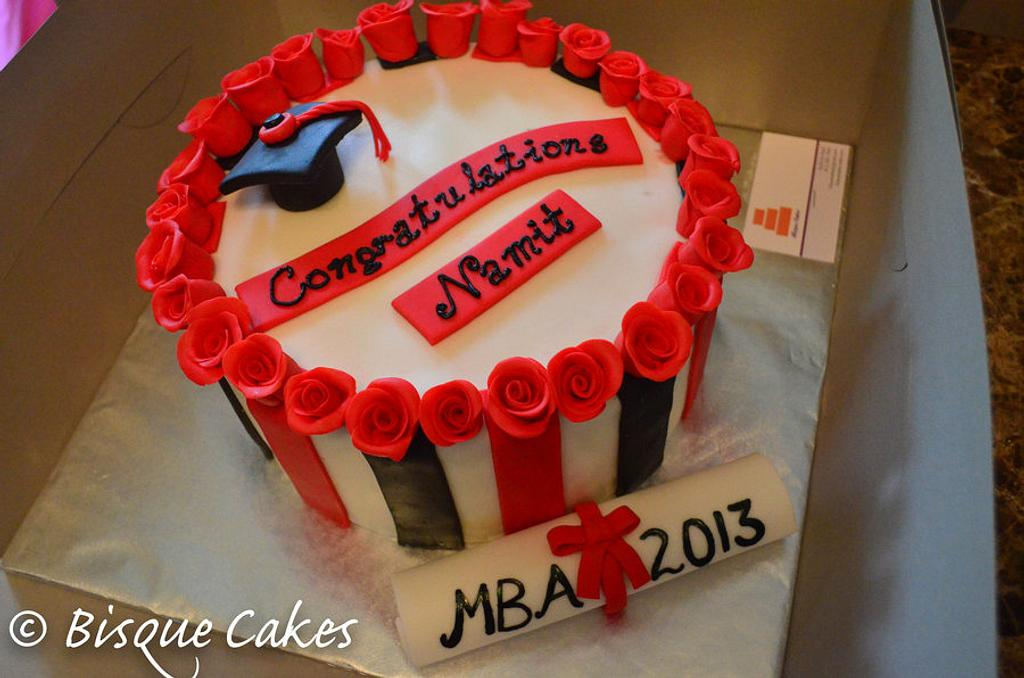 Graduation Cake w/ roses by Radhika Bhasin