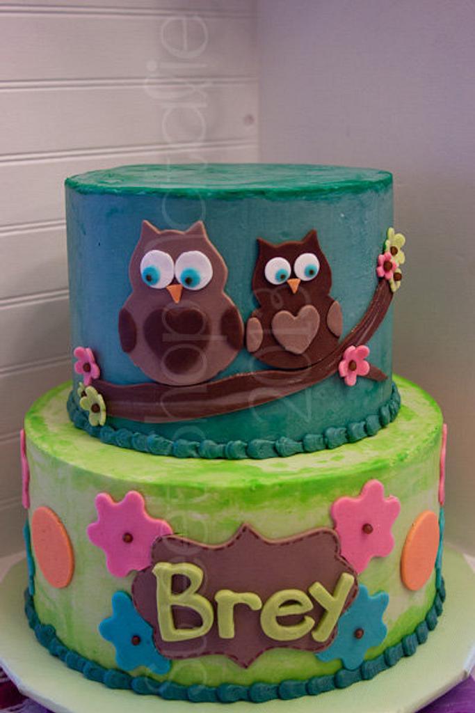 Owl Birthday Cake by Natalie Puikkonen