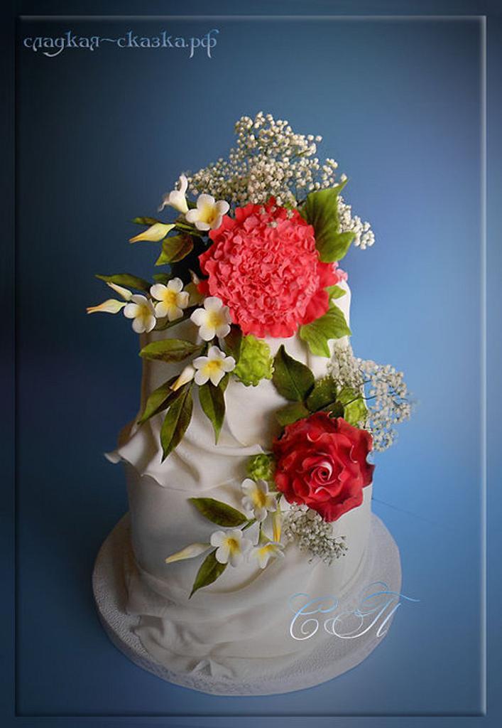 Свадебный торт с букетом цветов by Svetlana