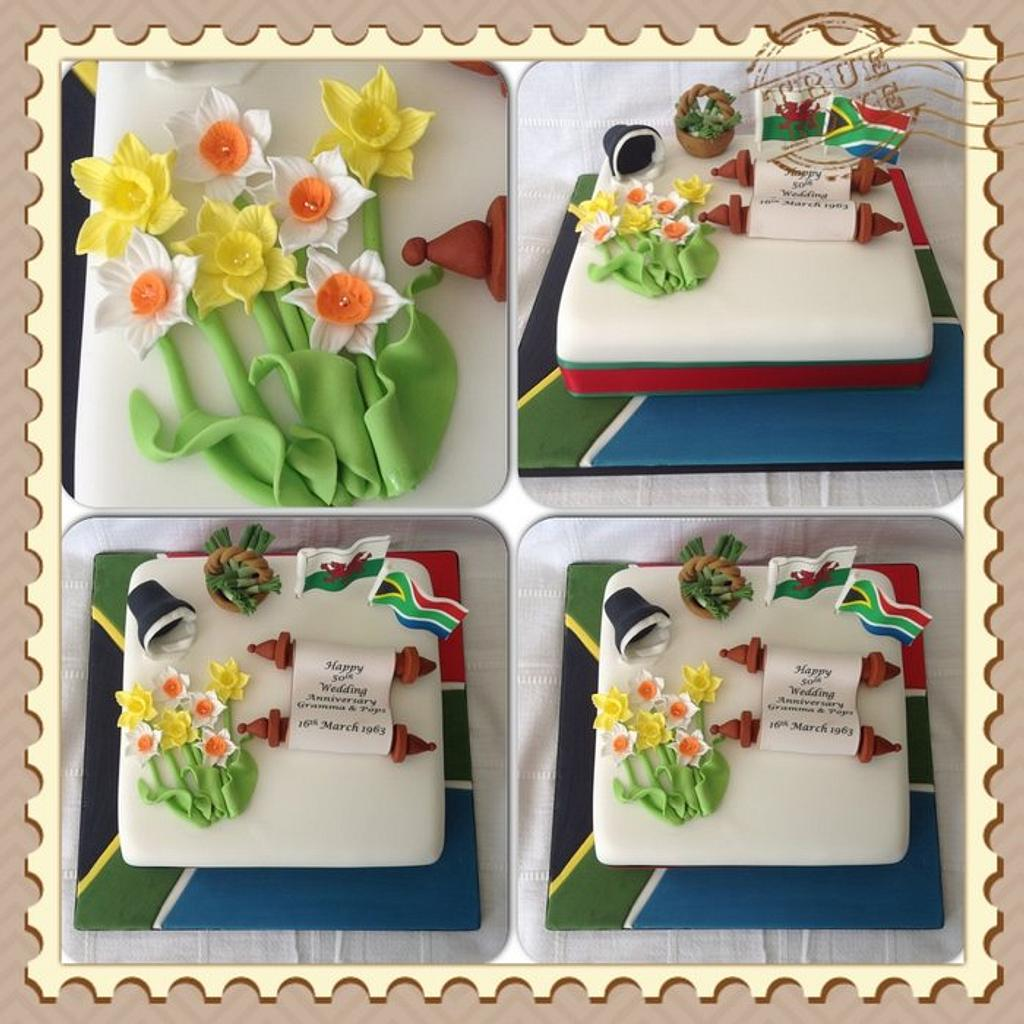 Welsh & South African Themed Cake by Keeley Cakes
