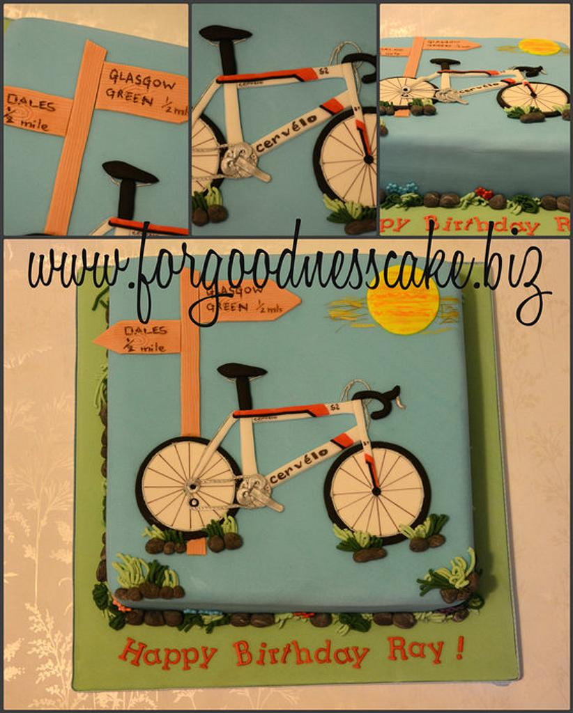 Cervelo Bike cake by Forgoodnesscake