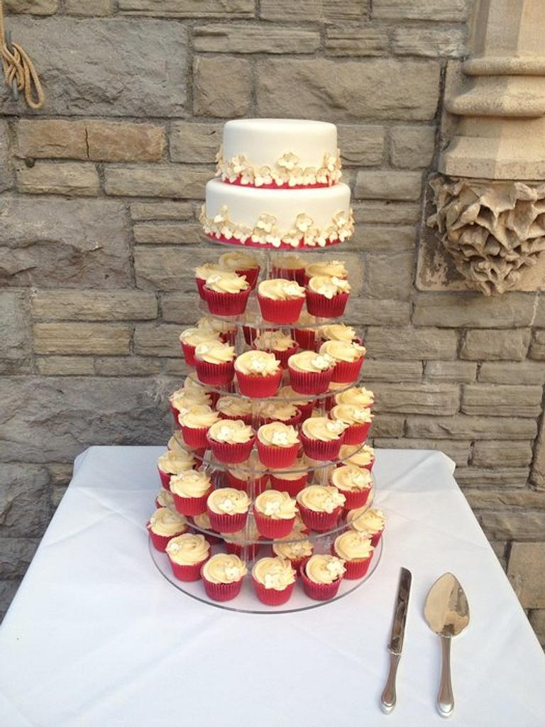 Cupcake tower cerise pink and gold by Victoria's Cakes