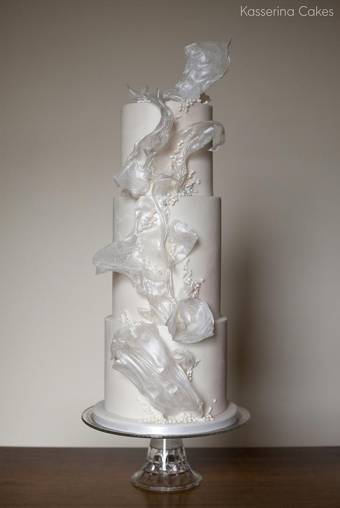 Subtly textured white sail cake by Kasserina Cakes