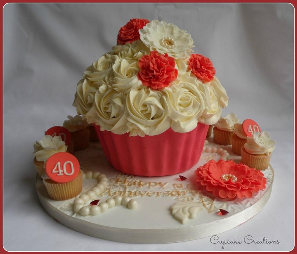 Ruby Wedding Giant Cupcake with minis by Cupcakecreations