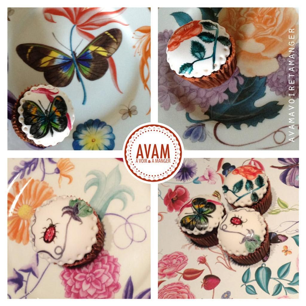 painted butterfly cupcakes by Lisa Abauzit