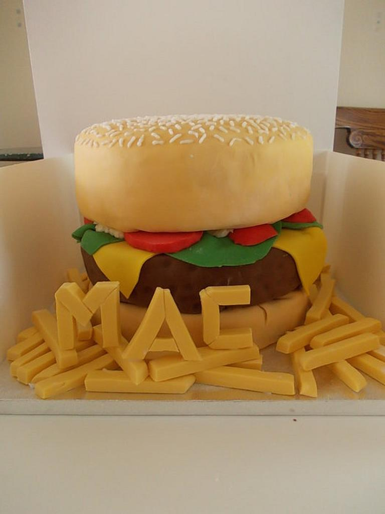 Burger and Chips Birthday Cake by David Mason