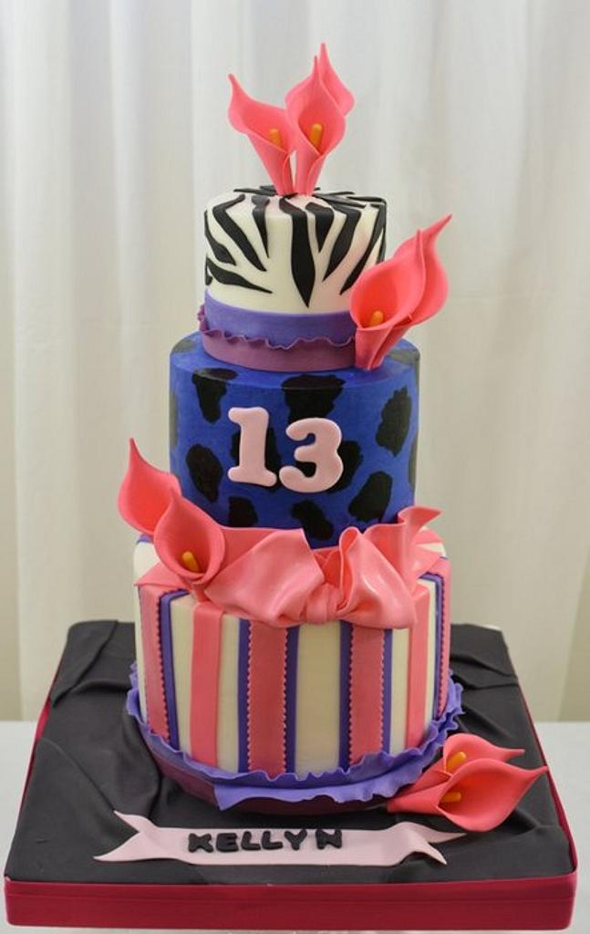 Hot Pink and Purple 13th Birthday Cake by Sugarpixy