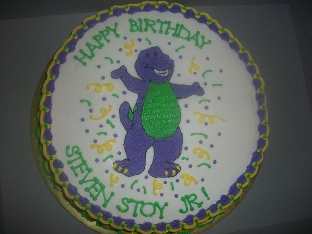 Barney Birthday Cake by caymancake