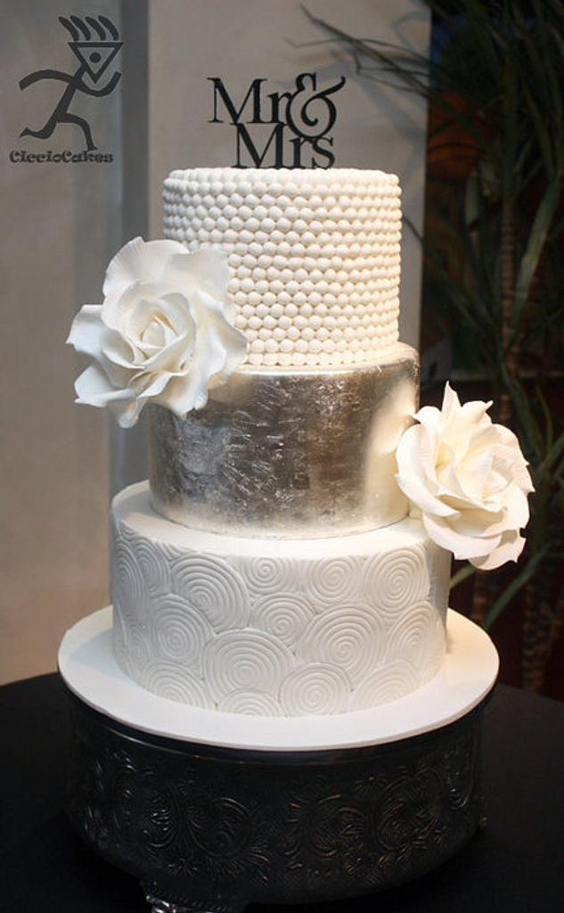 Silver Leaf, Swirls, Pearls & Giant White Roses by Ciccio