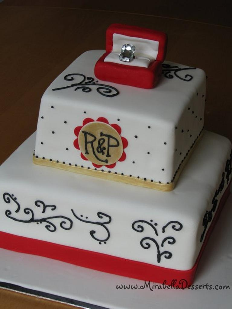 Red and gold engagement cake by Mira - Mirabella Desserts